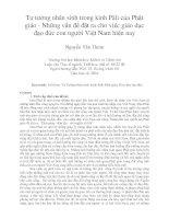 Tư tưởng nhân sinh trong kinh Pàli của Phật giáo - Những vấn đề đặt ra cho việc giáo dục đạo đức con người Việt Nam hiện nay