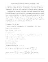 Phương pháp sử dụng tính chất của hàm số trong việc giải pt mũ và logarit