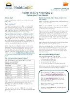 Folate và Sức khỏe Quý vị - Folate and Your Health