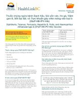 Thuốc Chủng Ngừa Bạch Hầu, Sài Uốn Ván, Ho Gà, Viêm Gan Loại B, Sốt Tê Liệt, và Trực Khuẩn Gây Viêm Màng Não loại b (DTaP-HB-IPV-Hib)