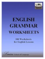 English Grammar Worksheets - 1001 worksheets For English Lessons