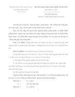 ĐỀ THI VÀ ĐÁP ÁN CHỌN HỌC SINH GIỎI MÔN SINH HỌC 9 CẤP HUYỆN KINH  MÔN