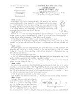 Đề thi học sinh giỏi lớp 12 THPT tỉnh Thanh Hóa năm học 2010 - 2011 môn Vật lý (Có đáp án)