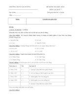 Đề kiểm tra học kì 2 môn Lịch sử lớp 7 năm học 2013 - 2014 trường THCS Cao Dương, Hà Nội
