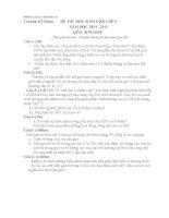 Đề thi và đáp án tham khảo môn sinh học lớp 9 bồi dưỡng 2015 (8)