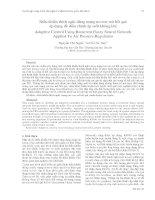 Proceedings VCM 2012 04 Điều khiển thích nghi dùng mạng nơron mờ hồi qui  áp dụng để điều chỉnh áp suất không khí Adaptive Control Using Recurrent Fuzzy Neural Network  Applied To Air Pressure Regulation