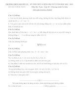 Đề thi học kỳ I lớp 10 THPT chuyên Thái Nguyên năm 2012 - 2013 môn Toán (Có đáp án)