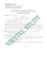 Đề thi thử lần 1 tuyển sinh môn toán vào lớp 10 THPT trường THCS TT Nghĩa Đàn năm 2015,2016