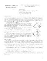 Đề thi học sinh giỏi Quốc gia môn Vật lí lớp 12 năm 2011 - Có đáp án (Ngày thi thứ nhất)