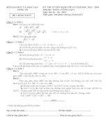 Đề thi  đáp án tuyển sinh lớp 10 môn toán năm 2013 2014   sở GD  đt long an