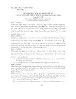 Đề thi học sinh giỏi lớp 12 THPT tỉnh Bến Tre năm học 2009 - 2010 môn Vật lý - Có đáp án