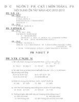 Đề cương ôn tập học kỳ 1 môn toán 8