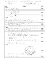 Đáp án môn toán kỳ thi tuyển sinh vào lớp 10 THPT Sở Giáo Dục Và Đào Tạo Hà Nam năm 2014,2015