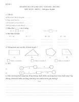 Đề kiểm tra giữa kỳ môn toán lớp 2 năm 2012