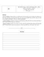 Đề kiểm tra 1 tiết môn Lịch sử lớp 9 trường THCS An Sơn năm học 2011  2012