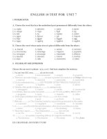 ENGLISH 10 TEST FOR  UNIT 7