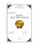 Đề tài Nghiên cứu tình hình thực hiện và ứng dụng HACCP trong công ty cổ phần xuất nhập khẩu thủy sản Cửu Long An Giang