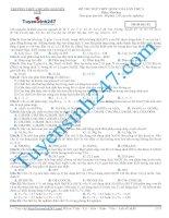 Đề thi thử THPT Quốc Gia môn Hóa-lần 3 môn Hóa năm 2015 - Trường THPT Chuyên Nguyễn Huệ