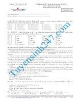 Đề thi thử THPT Quốc Gia môn Tiếng Anh Tân Yên năm 2015