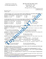Đề thi thử THPT Quốc Gia môn Tiếng Anh Nguyễn Trãi năm 2015