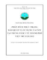 Phân tích thực trạng bảo quản và sử dụng vacxin tại trung tâm y tế thành phố việt trì năm 2012