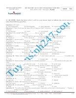 Đề thi thử THPT Quốc Gia môn Tiếng Anh Đa Phúc Hà nội năm 2015
