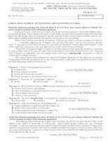 Đề thi thử Tiếng Anh THPT Quốc gia 2015 chuyên ĐH Vinh Trắc nghiệm và Tự Luận có KEY (Lần 1)
