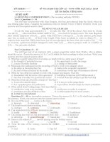 Đề thi học sinh giỏi Tiếng Anh lớp 12 số 1