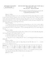 Đề thi học sinh giỏi lớp 12 môn Hóa (lần 1) tỉnh Ninh Bình  - Đề số 1
