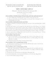 ĐỀ THI (ĐỀ XUẤT) HỌC SINH GIỎI CÁC TRƯỜNG CHUYÊN VÙNG DUYÊN HẢI VÀ ĐỒNG BẰNG BẮC BỘ  NĂM 2015 MÔN SINH HỌC 10 TRƯỜNG CHUYÊN HẢI DƯƠNG