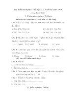 Bài  kiểm tra định kì cuối học kì II Năm học 2014 2015 MÔN TOÁN LỚP 2