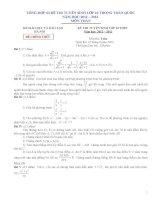 Tổng hợp đề thi tuyển sinh vào lớp 10 môn toán các tỉnh thành năm học 2012 - 2013(có đáp án)