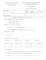Đề thi tuyển vào lớp 6 môn toán trường TH và THCS Minh Tiến