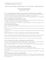 ĐỀ THI (ĐỀ XUẤT) HỌC SINH GIỎI CÁC TRƯỜNG CHUYÊN VÙNG DUYÊN HẢI VÀ ĐỒNG BẰNG BẮC BỘ  NĂM 2015 MÔN SINH HỌC TRƯỜNG CHU VĂN AN HÀ NỘI