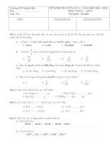 Đề kiểm tra giữa kì I môn toán lớp 5
