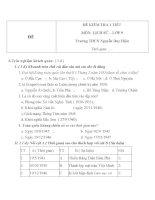 Đề kiểm tra 1 tiết môn Lịch sử lớp 9 trường THCS Nguyễn Duy Hiệu  Đề số 1