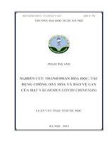 Nghiên cứu thành phần hóa học, tác dụng chống oxy hóa và bảo vệ gan của hạt vải (semen litchi chinnensis)