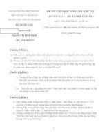 ĐỀ THI (ĐỀ XUẤT) HỌC SINH GIỎI CÁC TRƯỜNG CHUYÊN VÙNG DUYÊN HẢI VÀ ĐỒNG BẰNG BẮC BỘ  NĂM 2015 MÔN SINH HỌC KHỐI 10 TRƯỜNG CHUYÊN THÁI BÌNH