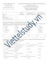 Đề thi thử vào lớp 10 môn Tiếng Anh (điều kiện) THPT Nguyễn Huệ - Hà Nội năm học 2015