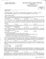 Đề thi thử lần 6 - 2014 - Môn Vật lý - Trường THPT Chuyên ĐH Sư phạm Hà Nội - Hà Nội