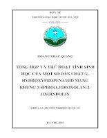 Tổng hợp và thử hoạt tính sinh học của một số dẫn chất n hydroxypropenamid mang khung 3 spiro1,3dioxolan   2  oxoindolin
