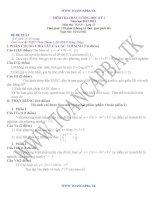 đề kiểm tra chất lượng học kì 1 môn toán lớp 12,đề tham khảo số 1