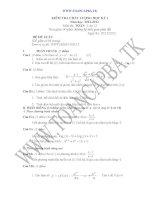 đề kiểm tra chất lượng học kì 1 môn toán lớp 12,đề tham khảo số 5