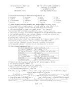 Đề thi vào lớp 10 môn Tiếng Anh tỉnh Đồng Nai
