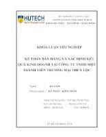 Kế toán bán hàng và xác đinh kết quả kinh doanh tại công ty TNHH MTV thương mại Thủy Lộc