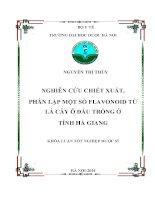 Nghiên cứu chiết xuất phân lập một số flavonoid từ lá cây ô đầu trồng ở tỉnh hà giang