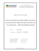 Nâng cao hiệu quả hoạt động tín dụng tại ngân hàng TMCP Sài Gòn Thương Tín (Sacombank) - Chi nhánh Bình Thạnh