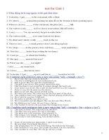đề thi  tiếng Anh lớp 8 bài 1 (With key)