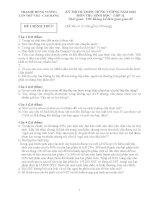 ĐỀ THI CHÍNH THỨC TRẠI HÈ HÙNG VƯƠNG LẦN THỨ VIII MÔN SINH HỌC LỚP 11