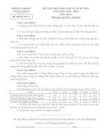 Đề thi học sinh giỏi Địa lí lớp 9 chọn lọc số 12